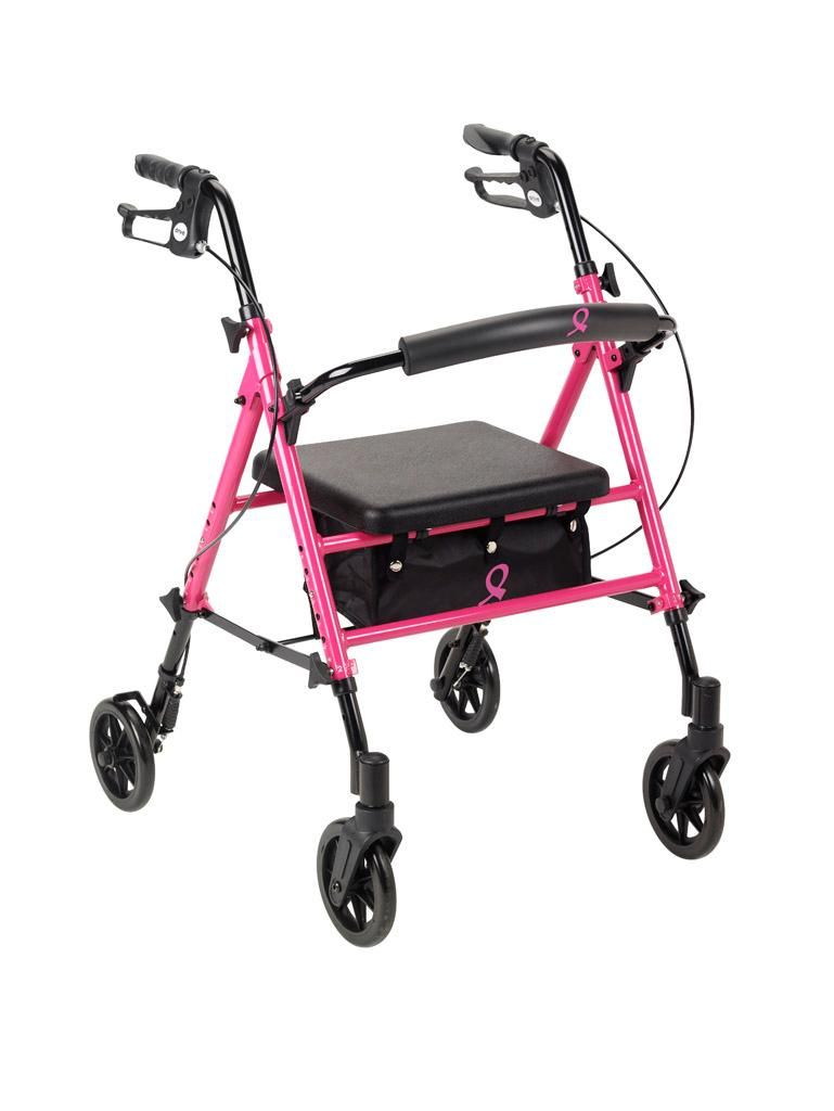 Amazon.com: Drive Medical Breast Cancer Awareness Adjustable Height Pink Rollator, Pink: Health & Personal Care
