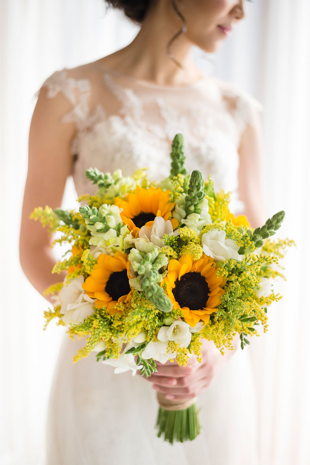 Yellow Bridal Bouquet With Sunflowers White Valentino Rockstud