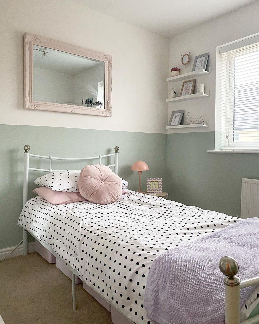 Abbie Lebo On Instagram New Room Reveal Halfpaintedwall Farrowandball Farrowandballtheresasgr In 2020 Rooms Reveal New Room Half Painted Walls