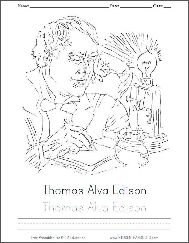 Thomas Alva Edison ||| Free printable coloring sheet for kids with ...