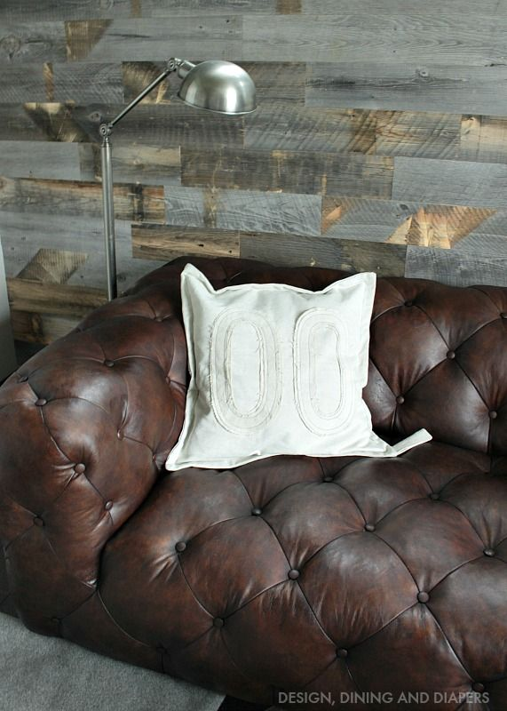 Marvelous House · Tufted Brown Leather Sofa With Stikwood Reclaimed Wall