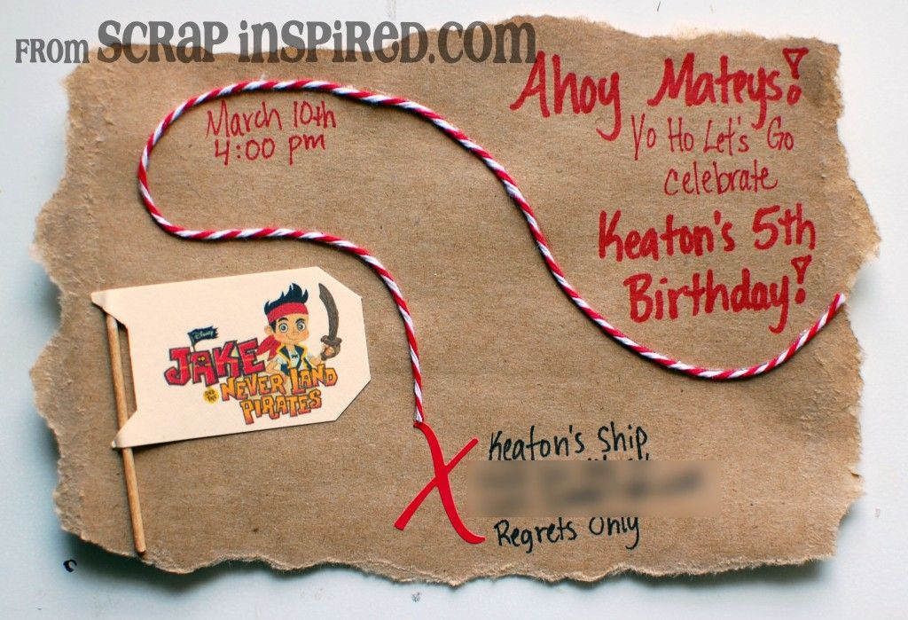 Jake and the Neverland Pirate Party Invites by Scrap Inspired | bday ...