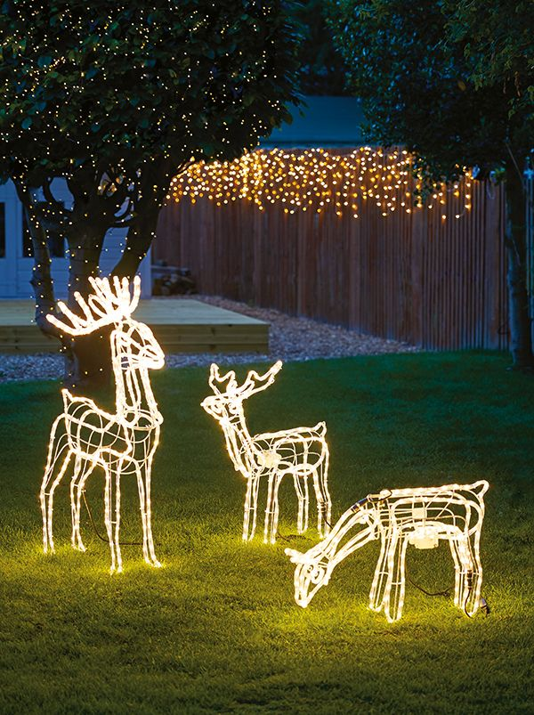 Create a striking outdoor display with reindeer silhouette lights, complete  with bright LED bulbs. Available at Homebase, these reindeer lights have  simple ... - Create A Striking Outdoor Display With Reindeer Silhouette Lights