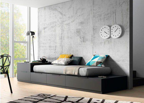 Dormitorio juvenil sal n cama modular tatami cajones y - Sofa para cuarto ...