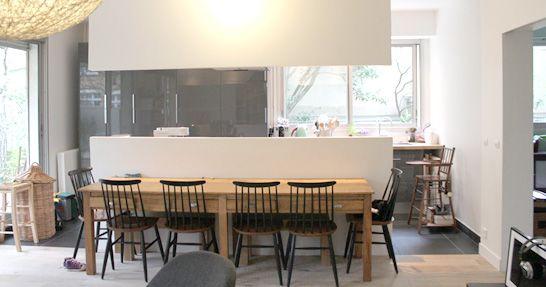 cuisine séparée cloison mi hauteur cocina medio muro Pinterest
