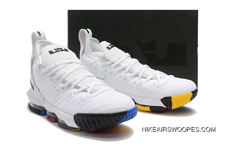 superior quality f11ab 5d395 2018 Nike Lebron 16 White Multi-Color Shoes For Sale Mens Basketball Shoes  Online