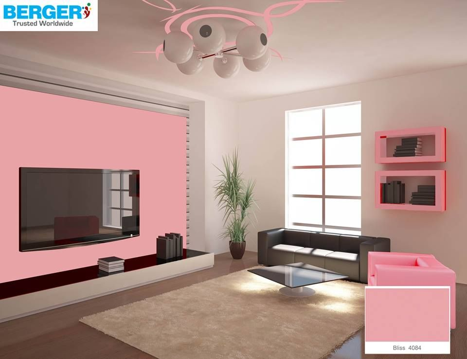 Try Attractive TeaPink Color in your TV lounge ~ Berger Paints #paints  #paint #
