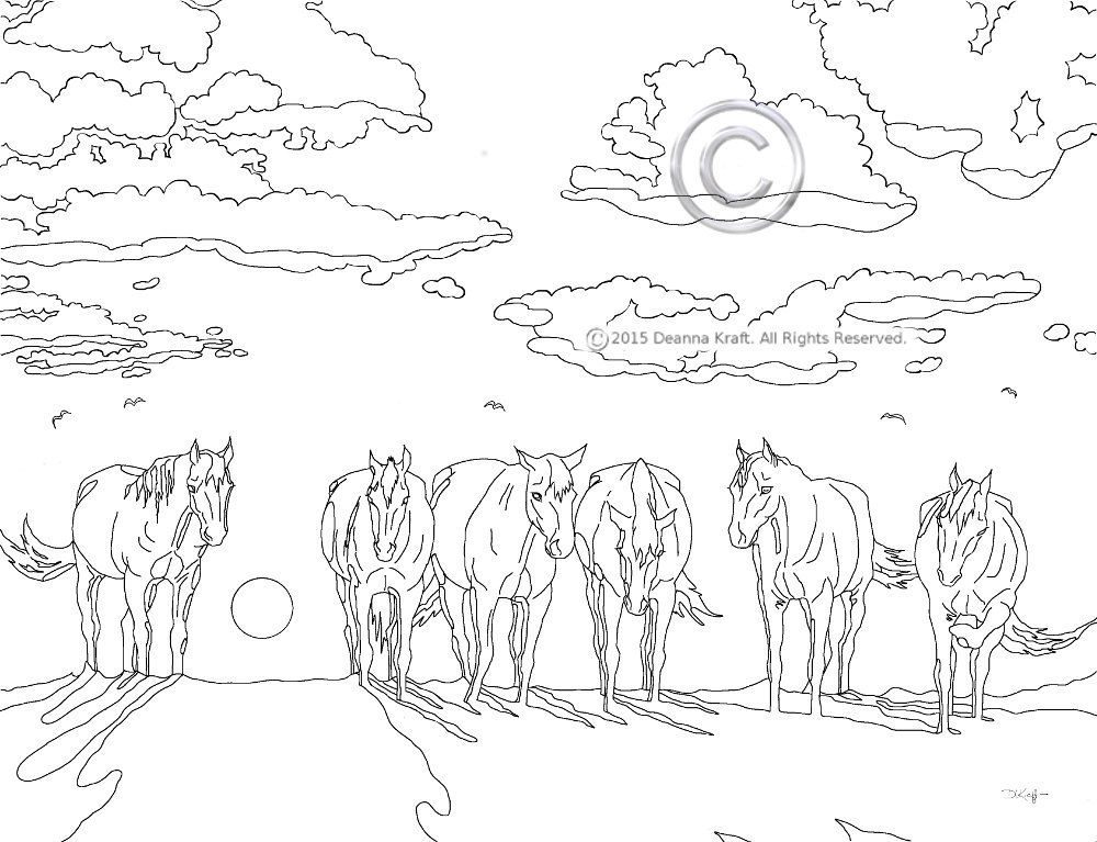 Sleepy Sunset Horse Coloring Page Horses At Sunset Or Sunrise By