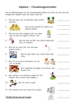 Charaktereigenschaften (Adjektive) | Adjektive, Adverbien ...