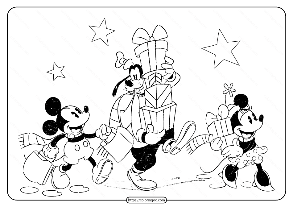 Disney Mickey And Friends Christmas Coloring Page Christmas Coloring Pages Disney Coloring Pages Disney Christmas