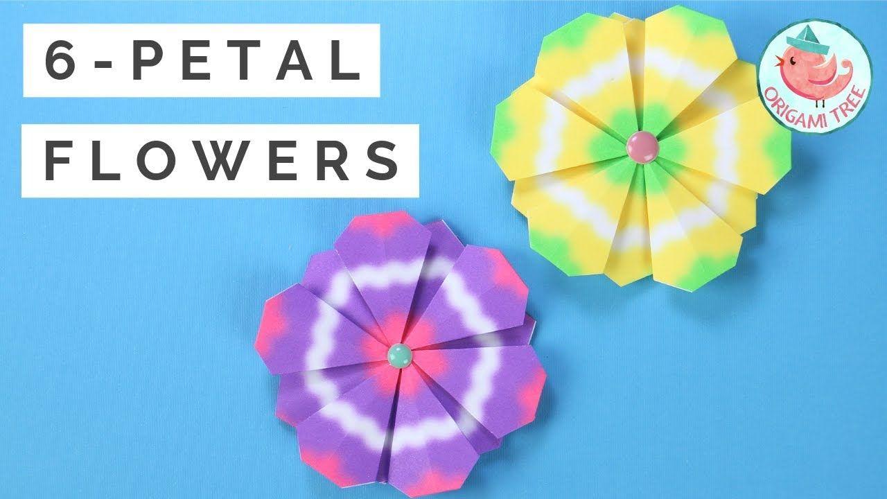 6 Petal Paper Flower Tutorial Origami Flowers Tutorial Easy