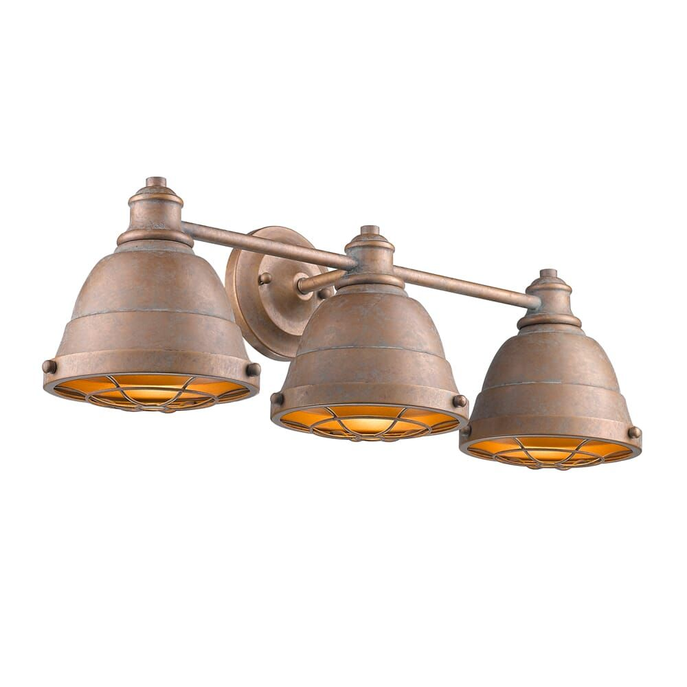 "Photo of Golden Bartlett 3-Light 24 ""bathroom Vanity Light in copper patina"