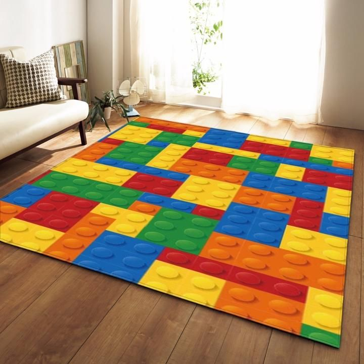 Colorful Kids Lego Print Area Rug Floor Mat In 2019 Kids
