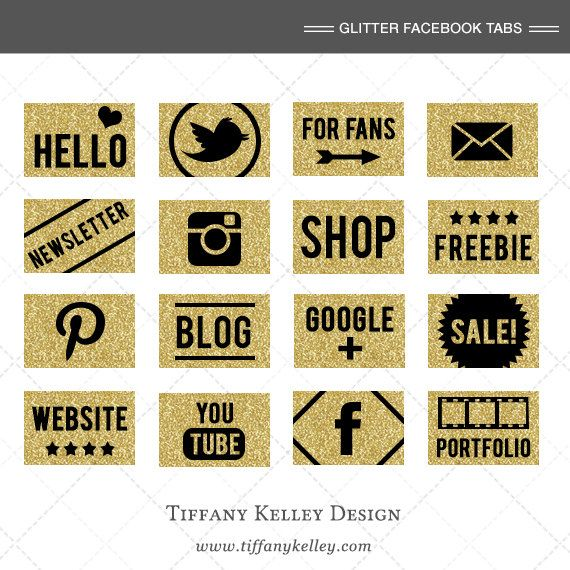 Custom Gold Glitter Facebook App Icons / Buttons, Gold