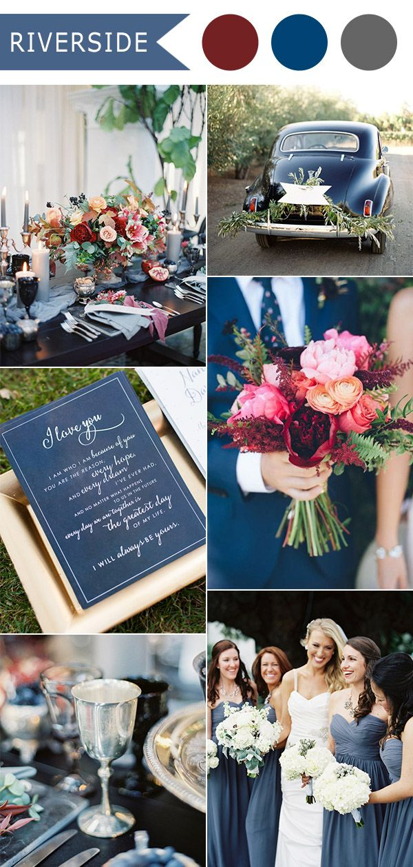 Top 10 fall wedding color ideas for 2016 released by pantone riverside dark slate blue and red fall wedding color ideas 2016 trends junglespirit Gallery