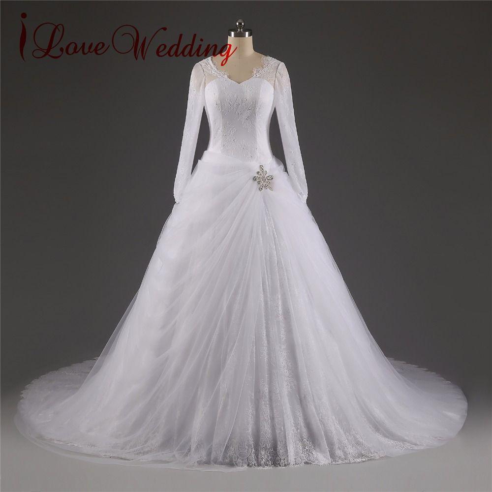 Long sleeve ball gown wedding dresses  iLoveWedding Long Sleeve Chapel Train Ball Gown Wedding Dresses