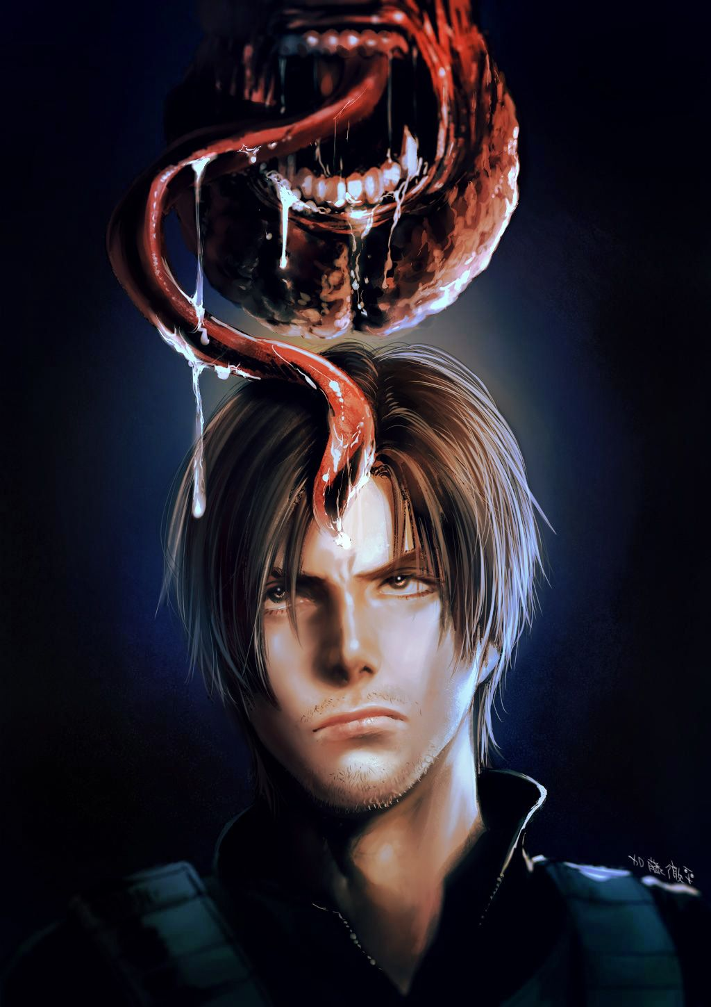 Leon Kennedy And Licker Resident Evil 6 Artwork By Katou Teppei