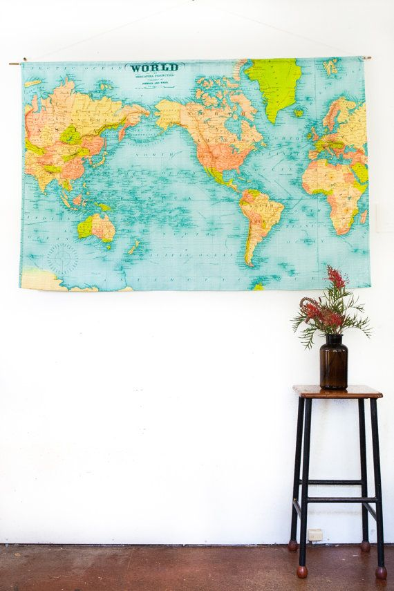 World map wall chart xl vintage school chart world map decor world map wall chart xl vintage school chart world map vintage fabric world map wall hanging 57 inches long x gumiabroncs Gallery