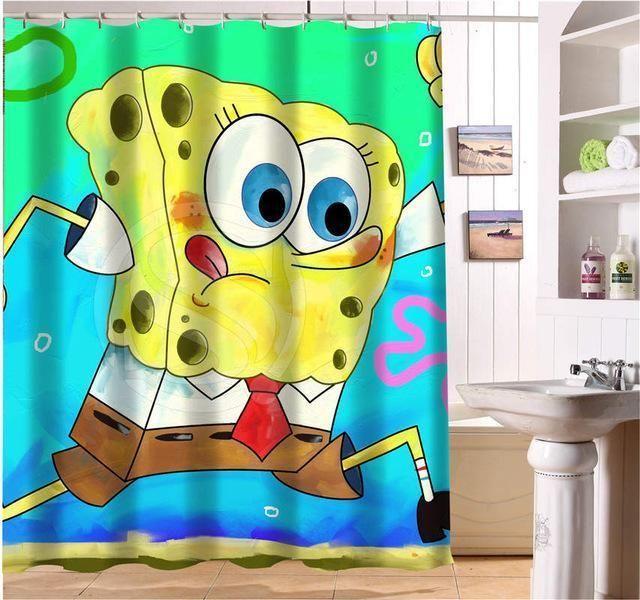 Cartoon Sponge Bob Waterproof Fabric Shower Curtain | Waterproof ...