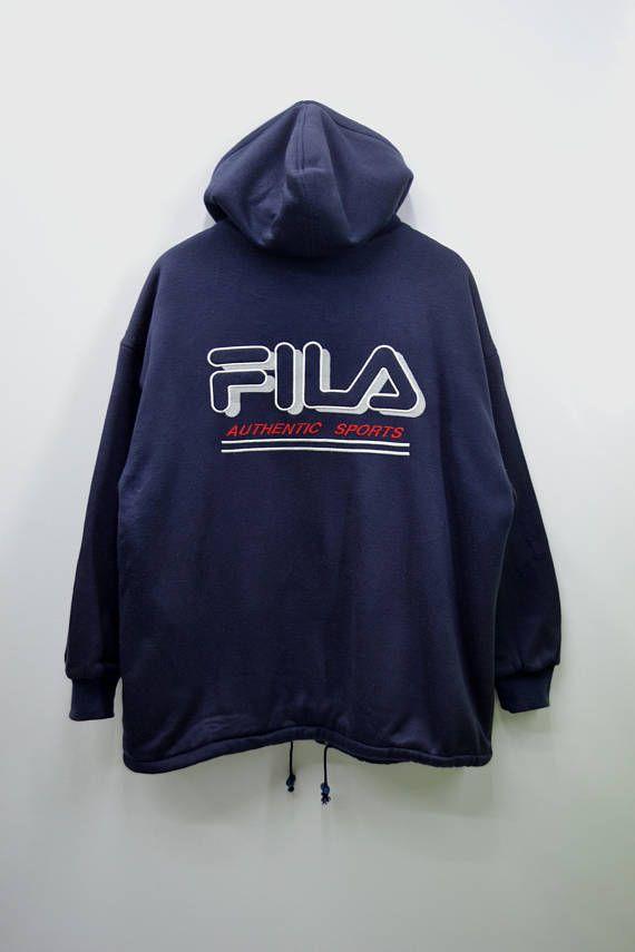 46c29515dcec FILA Distressed Jacket Vintage 90 s Fila Authentic Sports Big Logo ...