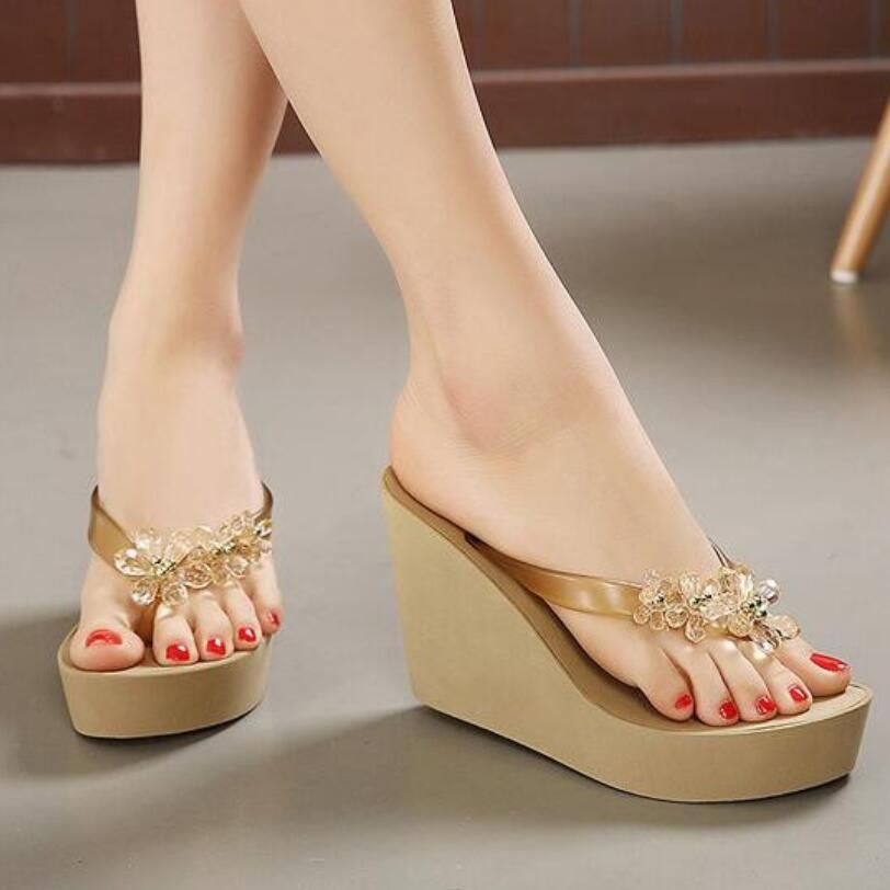 Flip flops ladies slippers platform sandals clear heels summer shoes