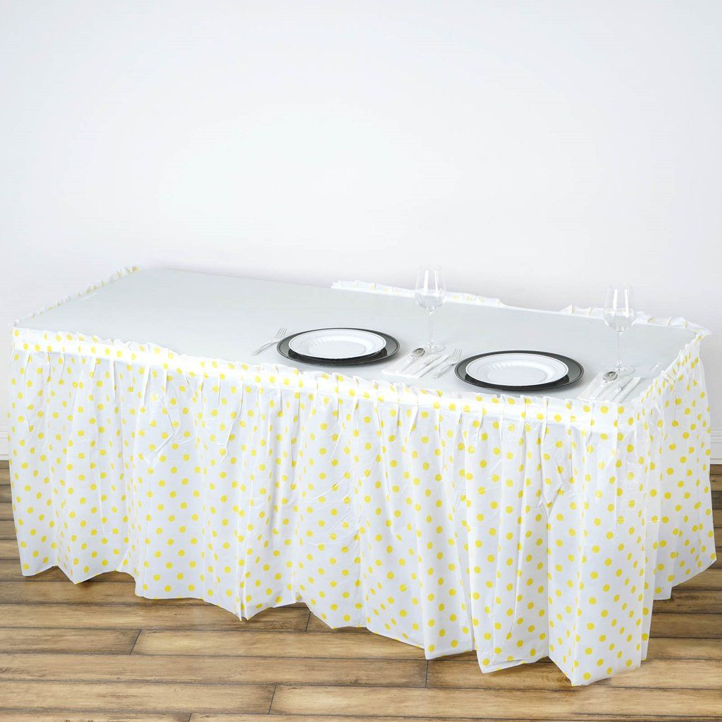 14ft 10 Mil Thick Polka Dots Pleated Plastic Table Skirts Disposable Table Skirt Spill Proof White Yellow In 2020 Table Skirt Plastic Tables White Plastic Table