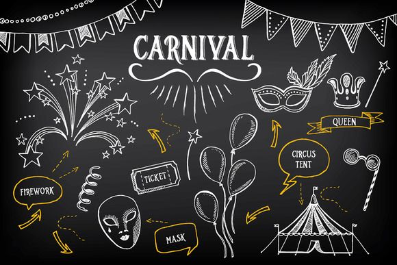 e9da164f2fae Carnival doodle icons by Barcelona Design Shop on Creative Market ...