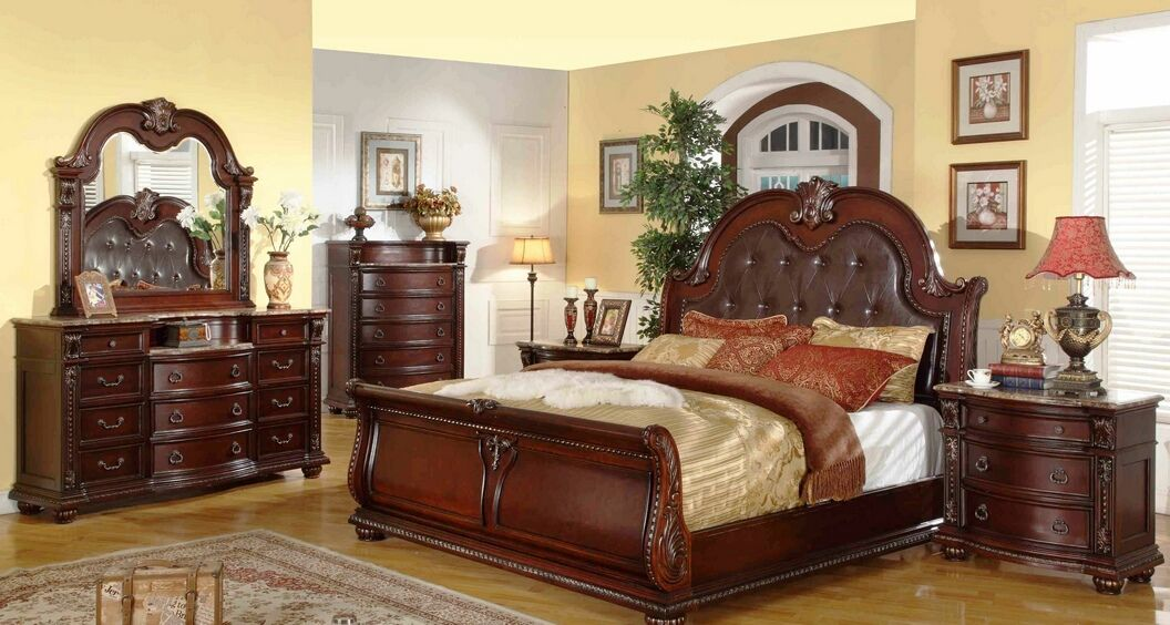 5 pc Stephanie II collection brown wood finish Queen sleigh bedroom