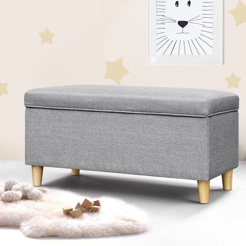 Artiss Storage Ottoman Blanket Box Toy Chest Kids Foot Stool Couch Light Grey In 2020 Storage Ottoman Blanket Box Storage Ottoman Bench