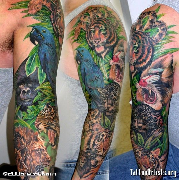 Tattoos Half Sleeve Jungle Animal Tattoo Tattoos Jungle Rainforest