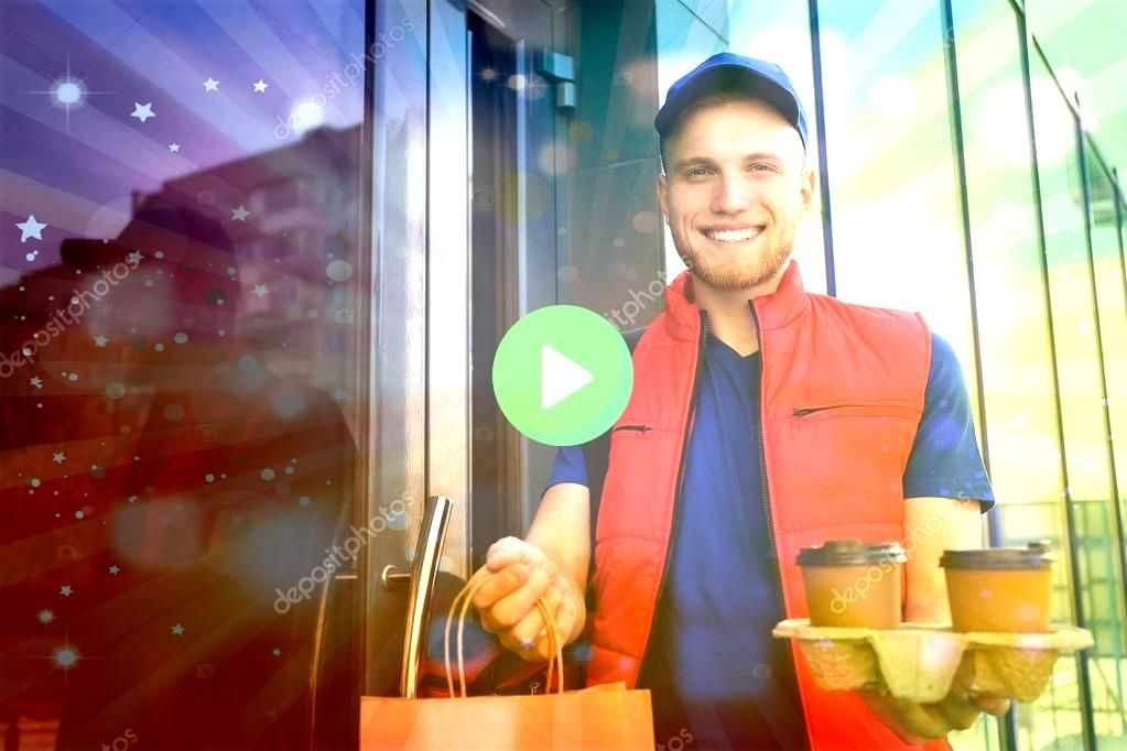of courier with order at door Food delivery service  Stock Pho Portrait of courier with order at door Food delivery service  Stock Pho  Its all relative    48 Erstaunlich...