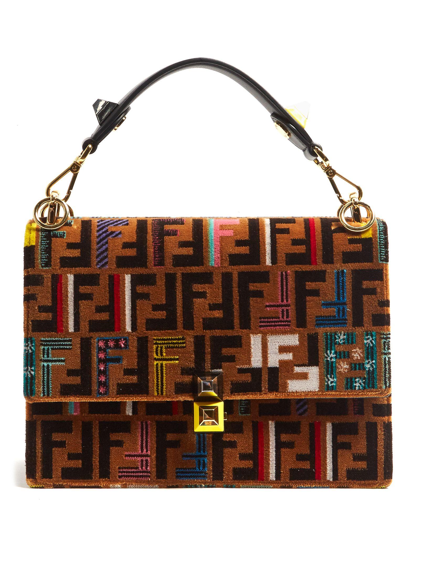 15eae10eb702 FENDI Kan I logo-print velvet shoulder bag