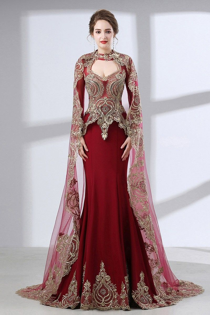 Vintage lace trim burgundy wedding dress sleeved with cape ch