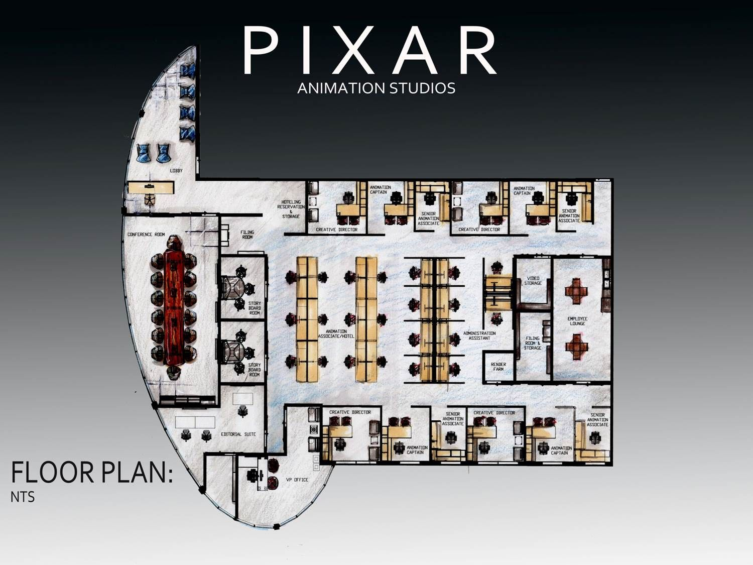 Revit Pixar Office Floor Plan Office Floor Plans Pinterest Pixar Off