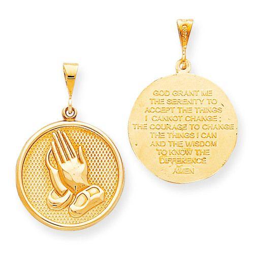 Praying Hands Reversible With Serenity Prayer Pendant 10k Gold 10c327 Serenity Prayer Pendant Serenity Prayer Praying Hands