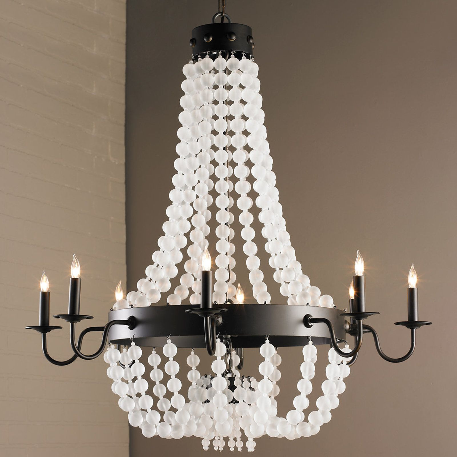 Frosted Glass Bead Chandelier