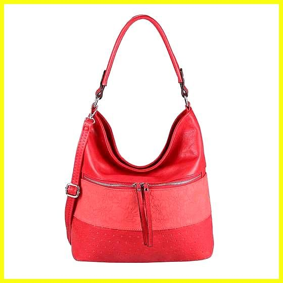OBC Damen Tasche Blumen Shopper Tote Bag Handtasche Umhängetasche Schultertasche Beuteltasche Leder Optik Hobo Crossbody Rot OBC Damen Tasche Blumen Shopper Tote Bag...