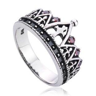 925 Sterling Silver Inlayed Gemstones Noble Crown Antique Ring Gift for Men