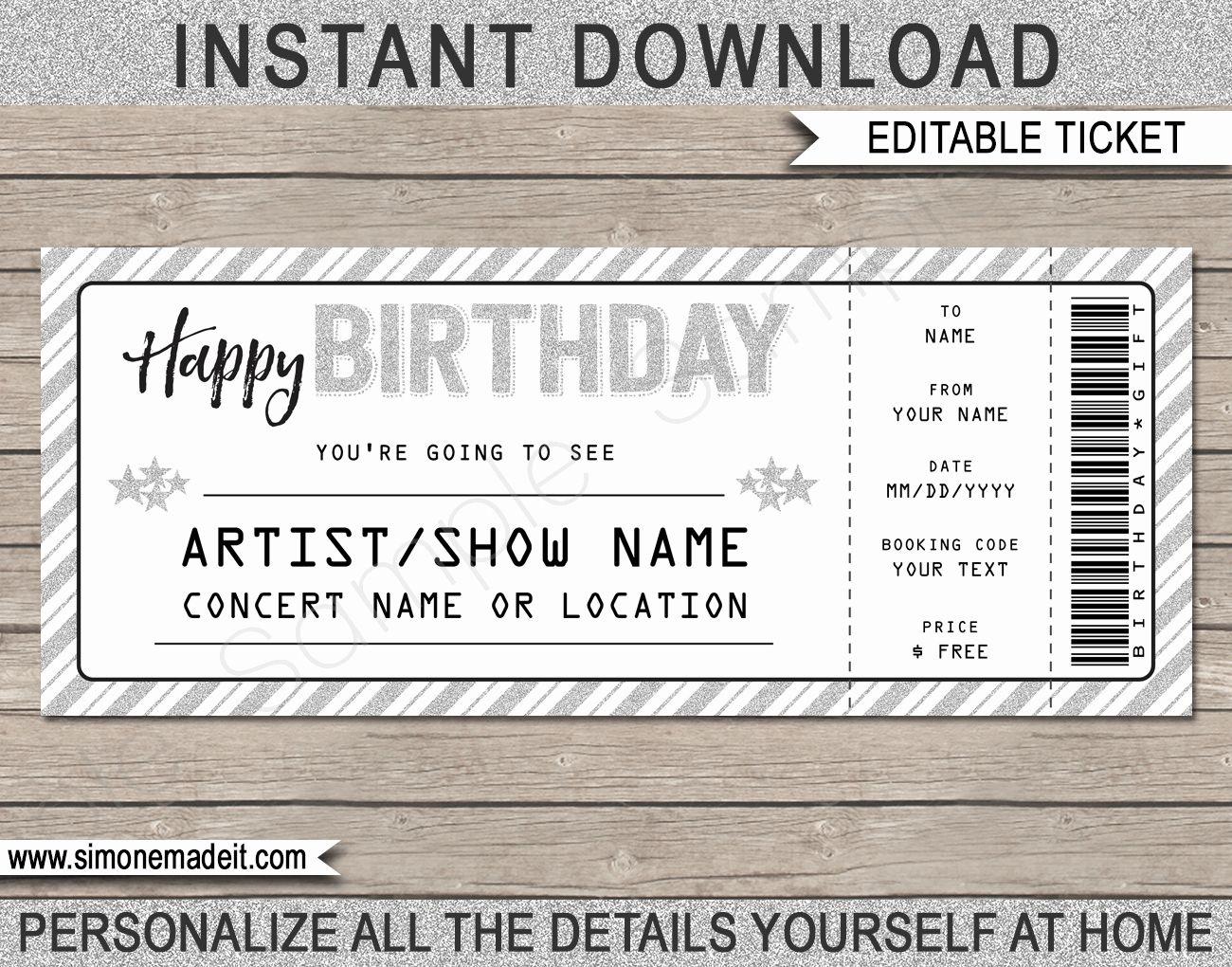 Concert Ticket Birthday Invitation Template Elegant Printable Concert Ticket Temp Concert Ticket Template Ticket Invitation Birthday Concert Ticket Invitations