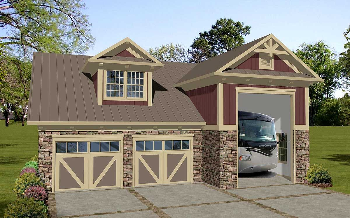 Plan 20128ga carriage house apartment with rv garage Apartment carports