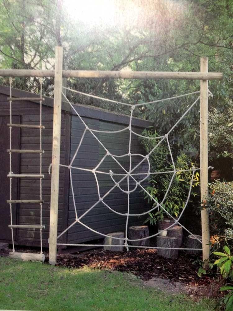 Kletteranlage aus Seil im Garten selber bauen Kinder Outdoor