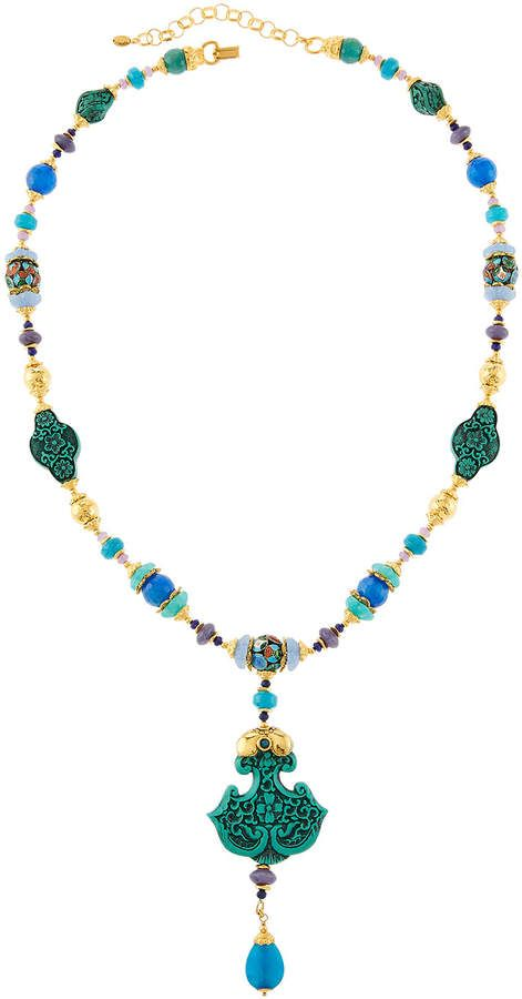 Jose & Maria Barrera Mixed Bead Pendant Necklace 7BqcyMX