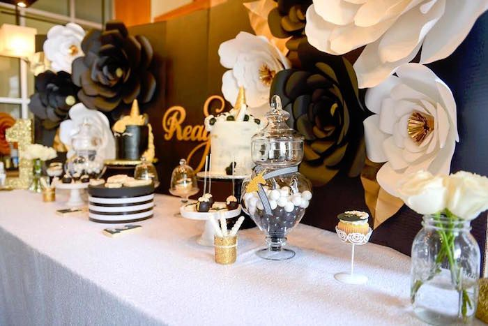 Elegant Black And Gold Unicorn Party Gold Birthday Party Gold