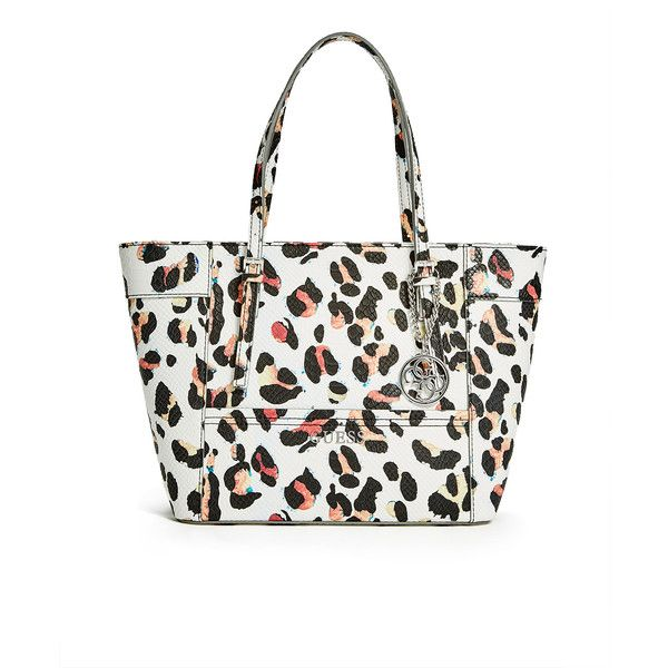 8c5c04f910 GUESS Delaney Leopard-Print Small Classic Tote ( 88) ❤ liked on Polyvore  featuring bags