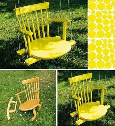 10 Diy Adorable Tree Swings Diy Rocking Chair Swinging Chair Old Chair
