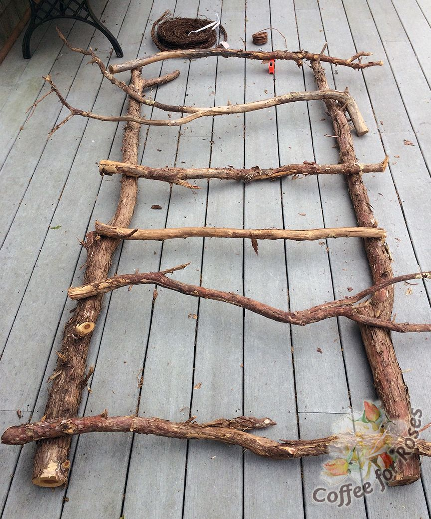 cut your branches to be the height and width that will fit in the rustic trellis cut your branches to be the height and width that will fit in the location where you will mount or hang the trellis