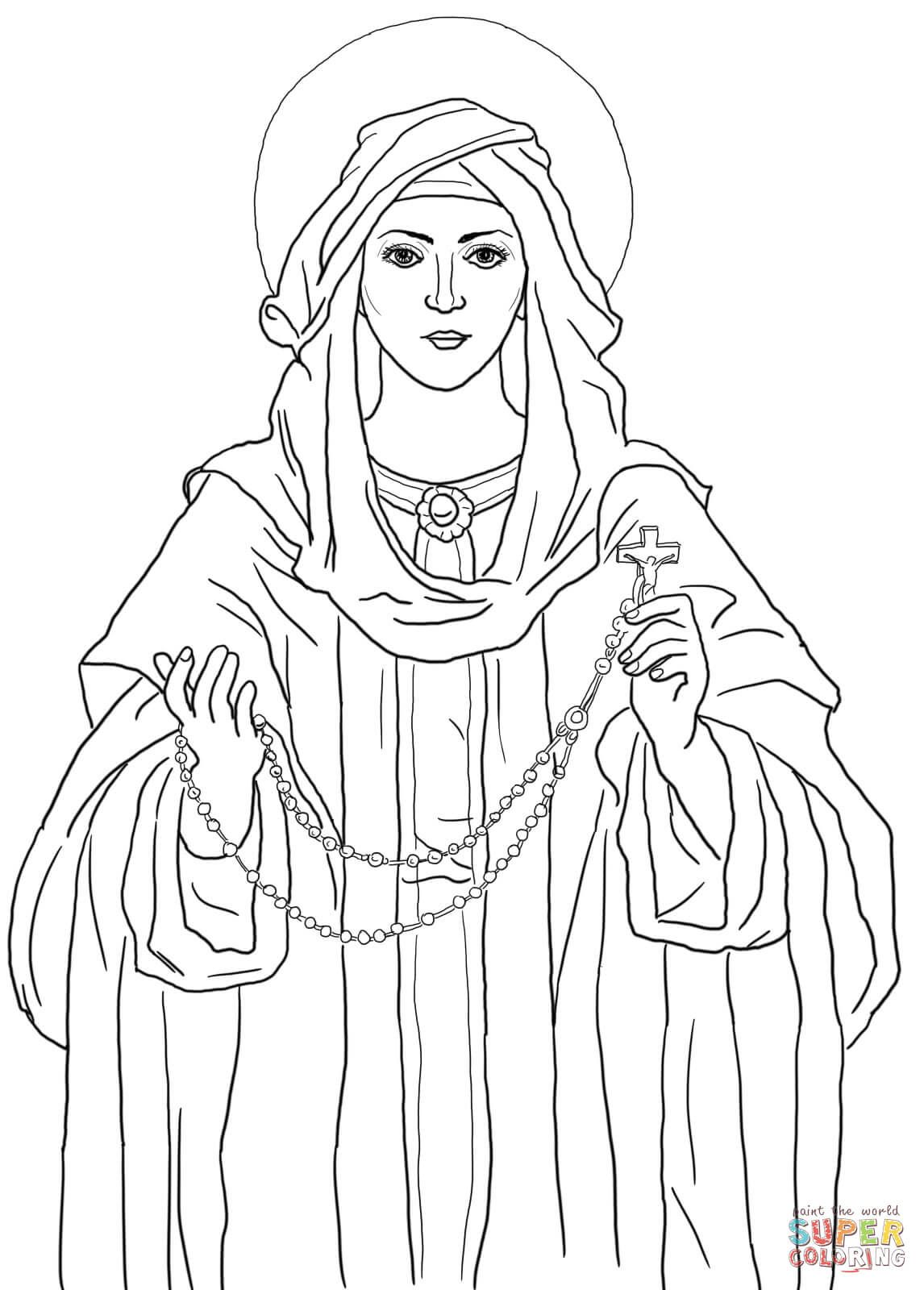 Our Lady Of The Rosary Coloring Page Free Printable Coloring