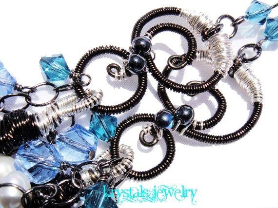 Ava  S Swirls on Blue Earrings by krystalsjewelry on Etsy, $75.00