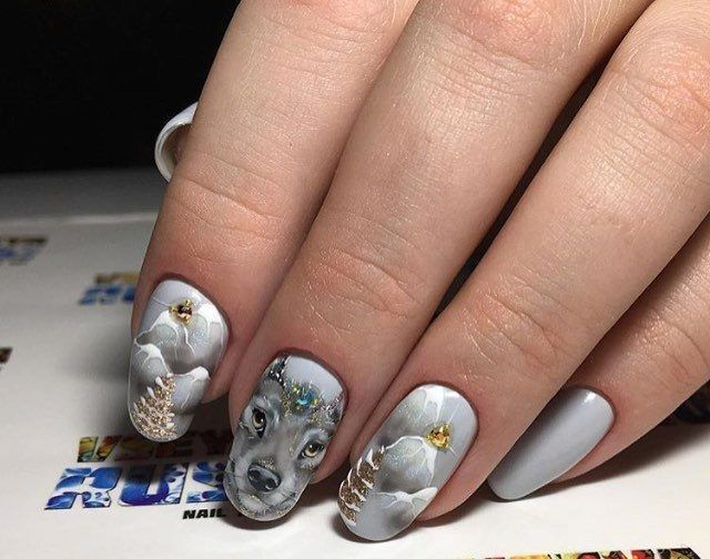 Christmas Nails Festive Grey With A Pattern