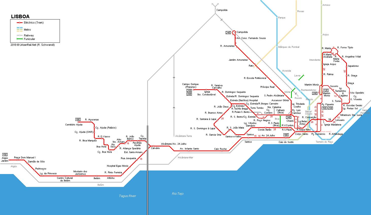 里斯本公共交通路線圖